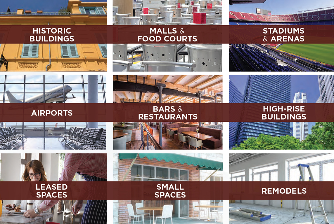 Ventless hoods are ideal for use in several types of facilities, including, but not limited to, historic buildings, malls and food courts, stadiums, bars, leased spaces, and small kitchen areas.